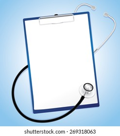 Blank paper in clipboard with stethoscope, medical concept, vector 10
