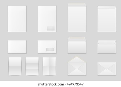 Blank paper envelopes set. Vector EPS10 illustration.