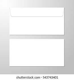 Blank paper envelopes for your design. Blank realistic closed envelope front and back view mockup. Blank envelopes. Photo-realistic vector illustration.