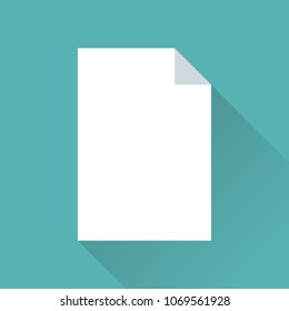 Blank paper icon in flat design with diagonal shadow and modern blue background.