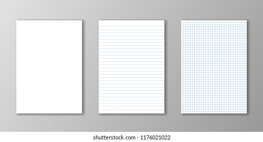 Blank paper, lined paper and square paper on grey background.