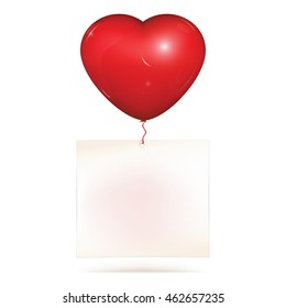 Blank paper note hanging on red heart helium balloon. Copy space for greeting text to saint Valentines day or love note. Vector illustration, isolated on white background.