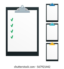 Blank paper on black clipboard with copy space on beige background. Folder with blank paper design mockup. Document holder mock up template