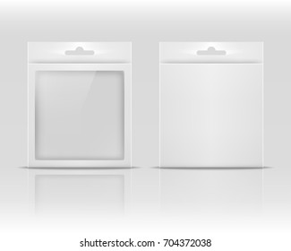Blank paper packaging box with hanging hole isolated on white background. Product package template. Vector illustration.