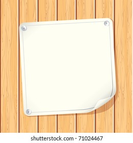 Blank Paper Poster attached on Wooden Wall - vector image with copyspace ready for your text message or design