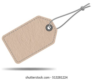 Blank paper sale tag label with string, vector design