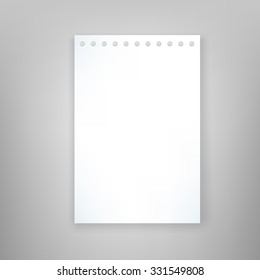 Blank paper sheet isolated on gray background. Vector illustration for branding