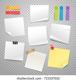 Blank paper stickers vector collection. Advertising mockup isolated on transparent. Place any text on it