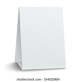 Blank paper table card isolated on white background