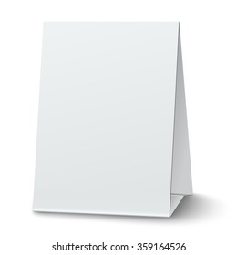 Blank paper table card placed on white