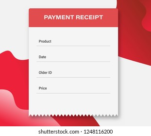 Blank payment receipt. Bill atm template or restaurant paper financial check. Concept Paper receipts icons. Paper receipt from ticket machine slot.