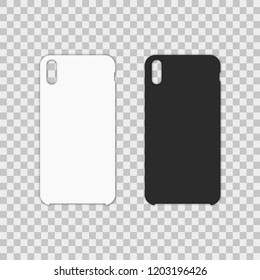 Blank phone case on transparent background. Vector illustration