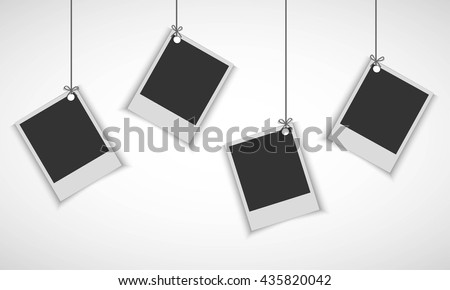 Blank Photo Frame Hanging On Line Stock Vector Royalty Free