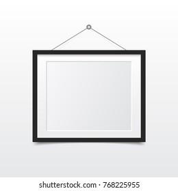 Blank photo frame on the wall. Design for modern interior. Vector illustration.