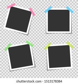 Blank photo frames. Empty blank photo frame set with colored scotch tapes