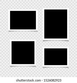 Blank photo frames. Empty blank photo frame set, Vector illustration