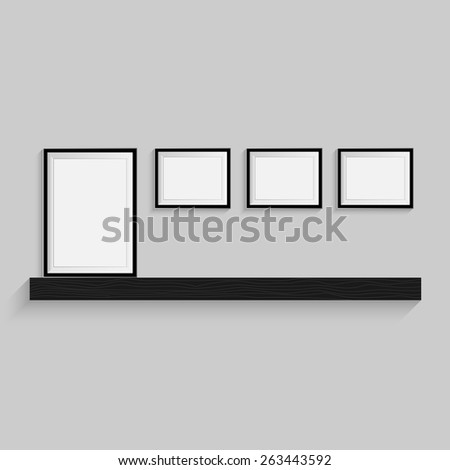 Blank Picture Frame Shelf Template Set Stock Vector Royalty Free