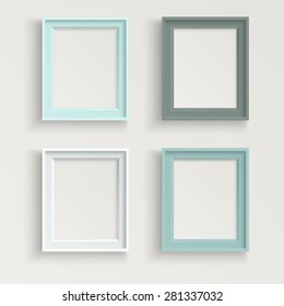 Blank picture frame template different color set isolated on wall