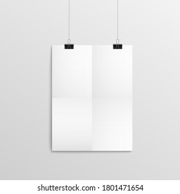 Blank piece of paper hanging on wall with black binder clips - empty A4 poster mock up with realistic bend texture. Empty sheet frame template - vector illustration.