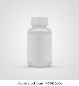 Blank pills container with blank label isolated on white background. Vector illustration