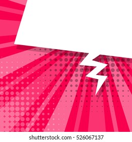 Blank pink comic text balloon template. Clear empty speech bubbles halftone dot style pop art. Dialog empty cloud pop art. Creative idea conversation background sketch explosion