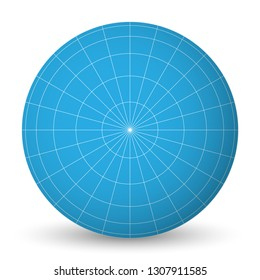 Blank planet Earth blue globe with grid of meridians and parallels, or latitude and longitude. 3D vector illustration.