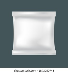 Blank plastic bag mockup for food. White blank foil package for food, vector template.