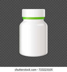 Blank plastic container with tight cover for medicines isolated vector illustration on white background. White empty bottle template.