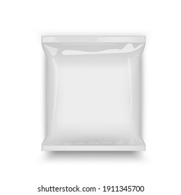 Blank Plastic Foil Bag Food Packaging Mockup Isolated On White Background. EPS10 Vector