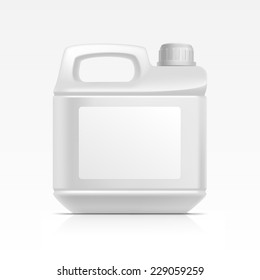 Blank Plastic Jerrycan Canister Gallon for Oil Cleanser Detergent Abstergent Isolated