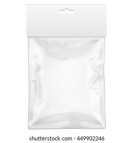 Blank Plastic Pocket Bag. Transparent. With Hang Slot. Illustration Isolated On White Background. Mock Up Template Product. Ready For Your Design. Vector EPS10