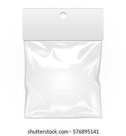 Blank Plastic Pocket Bag. Transparent. With Hang Slot. Illustration Isolated On White Background. Mock Up Template Ready For Your Design. Vector EPS10