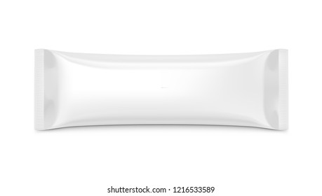 Blank Plastic Pouch Snack Packaging On White Background. Top View. EPS10 Vector