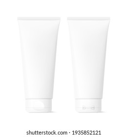 Blank plastic tube mockup. Face and rear side. Vector illustration isolated on white background. Can be use for your design, advertising, promo and etc. EPS10.