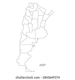 Blank political map of Argentina. Administrative divisions - provinces. Simple black outline vector map
