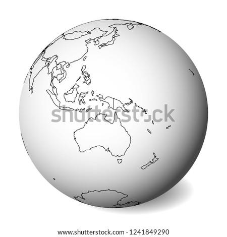 Blank Political Map Australia 3 D Earth Stock Vector (Royalty Free ...