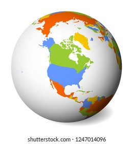 Blank political map of North America. Earth globe with colored map. Vector illustration.