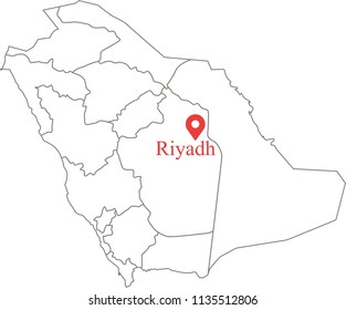 Blank political map of Saudi Arabia with provinces border vector outline illustration and capital location Riyadh