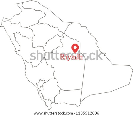 Blank Political Map Saudi Arabia Provinces Stock Vector Royalty