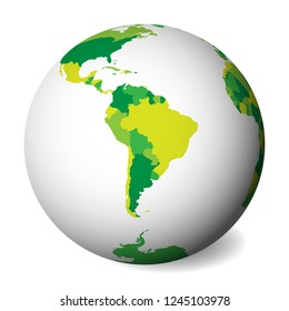 Blank political map of South America. 3D Earth globe with green map. Vector illustration.