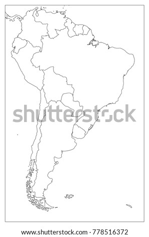 Blank Political Map South America Simple Stock Vector Royalty Free