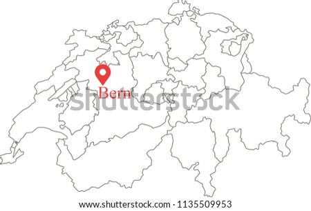 Blank Political Map Switzerland Provinces Border Stock Vector