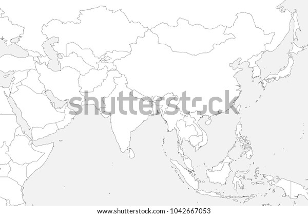 Blank Political Map Of Southeast Asia.Blank Political Map Western Southern Eastern Stock Vector Royalty