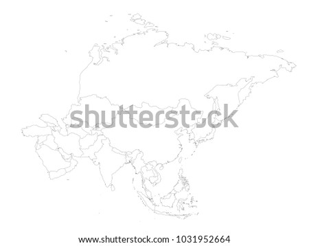 Blank Political Outline Map Asia Continent Stock Vector (Royalty ...