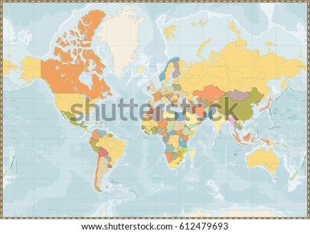 Blank Color World Map.Blank Political World Map Vintage Color Stock Vector Royalty Free
