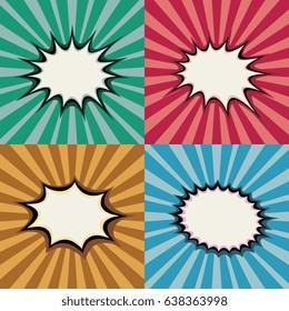 Blank pop art speech bubbles and burst shapes on retro superhero sunset background vector set