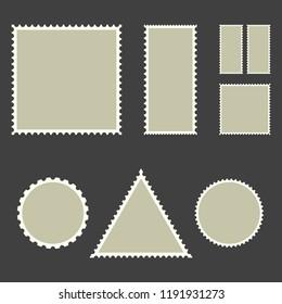 Blank post stamps, vector illustration