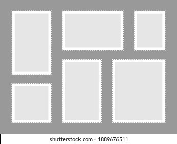 Blank postage shtamps set. Postage stamps frames for mail envelope. Empty templates.