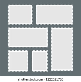 Blank postage stamp. A set of stamps with white edging on a dark gray background. Vector illustration.