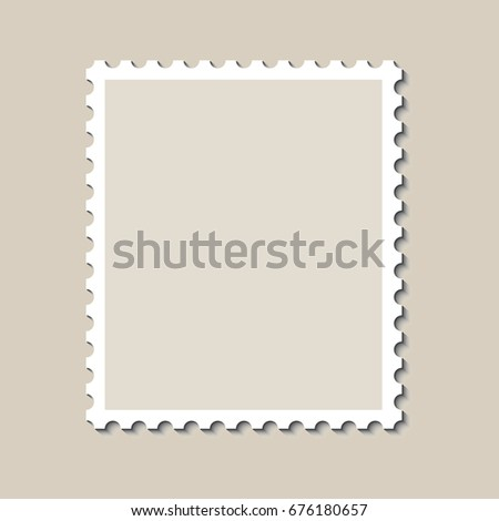 blank postage stamp template shadow vector stock vector royalty